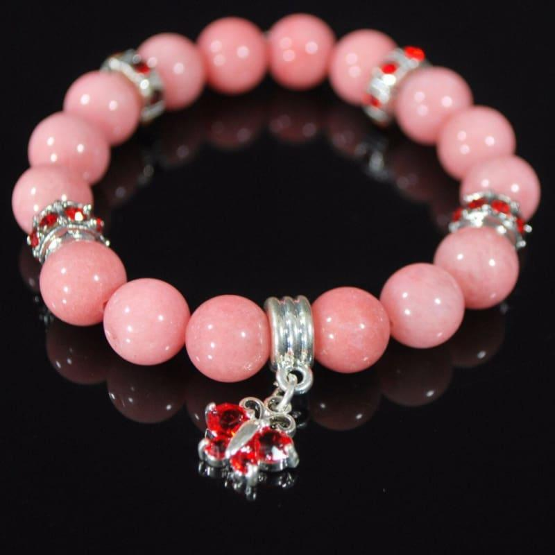 Morganite Pink Gemstone With Red Charm Beaded Womens Bracelets - Handmade