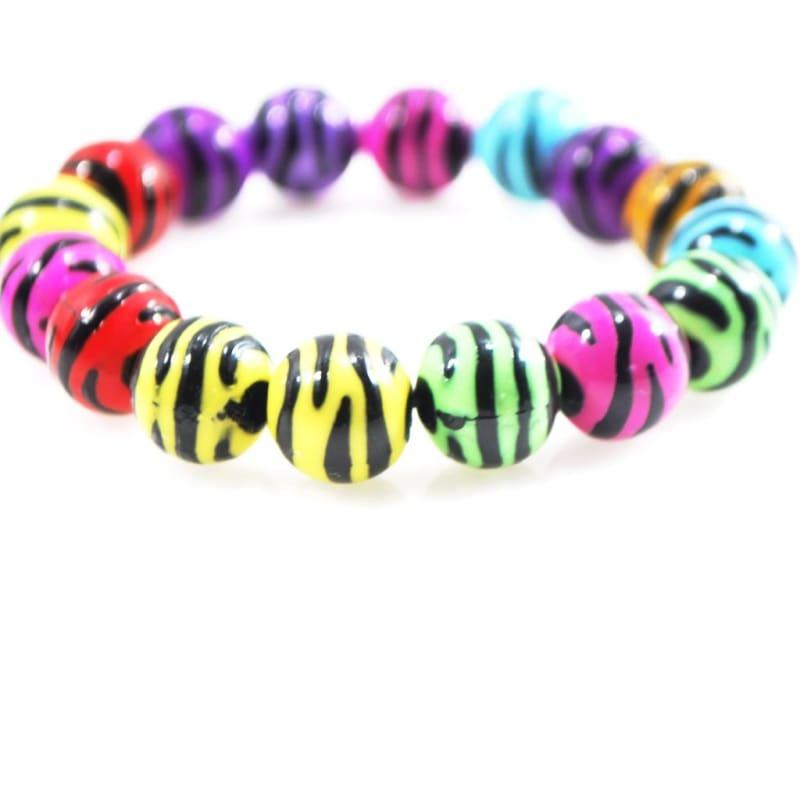 Multi Colored Zebra Prints Acrylic Bracelets - Handmade
