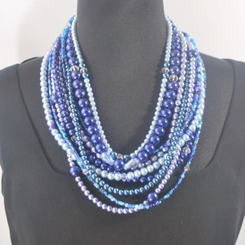 Multi Strand Shades Of Blue Glass Pearls Necklace - Handmade