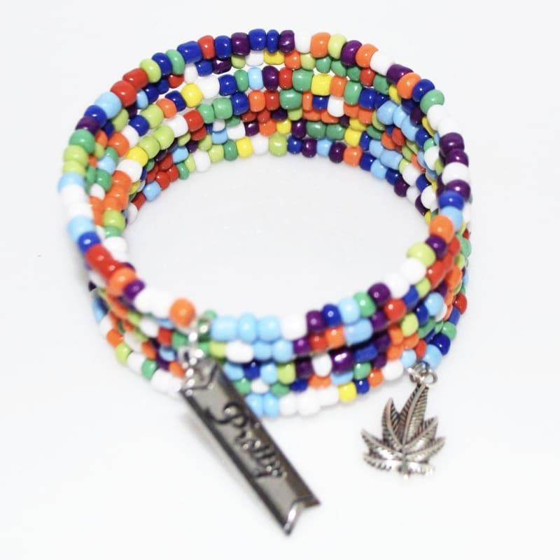 Multicolor Seed Bead Charm Steel Boho Wrap Around Bracelets - Handmade