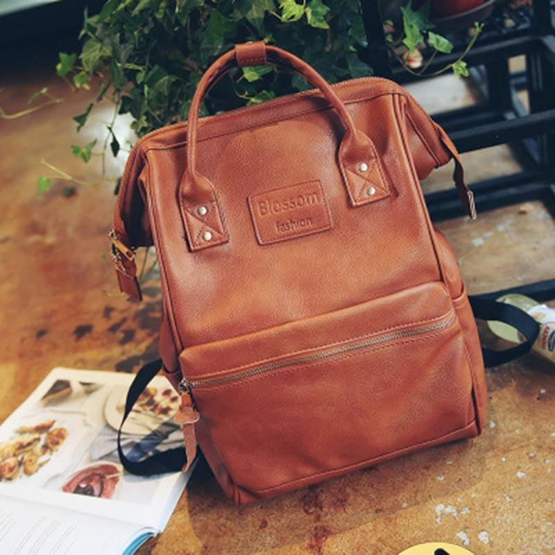 Multifunction Youth Shoulder Laptop Schoolbag - Brown - Backpacks