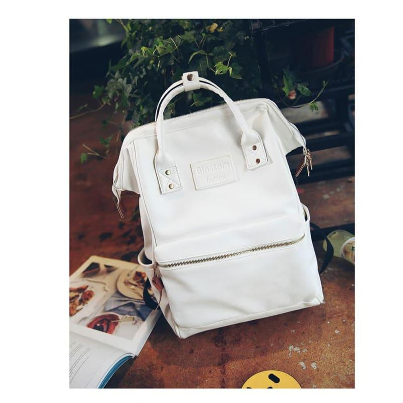 Multifunction Youth Shoulder Laptop Schoolbag - White - Backpacks