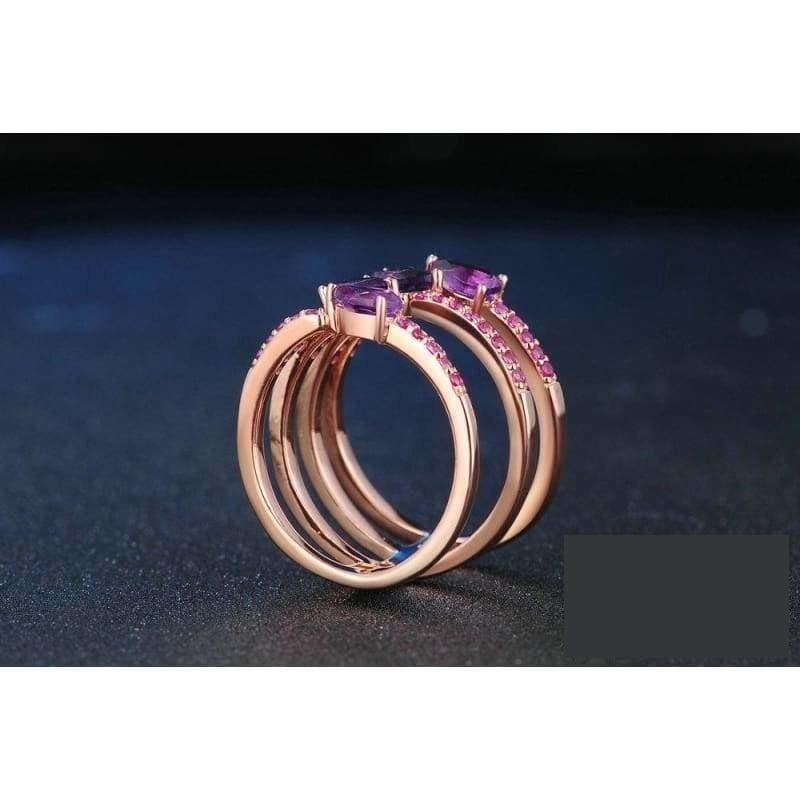 Natural Amethyst Gemstone 925 Sterling Silver 4 Pieces Rings - Ring