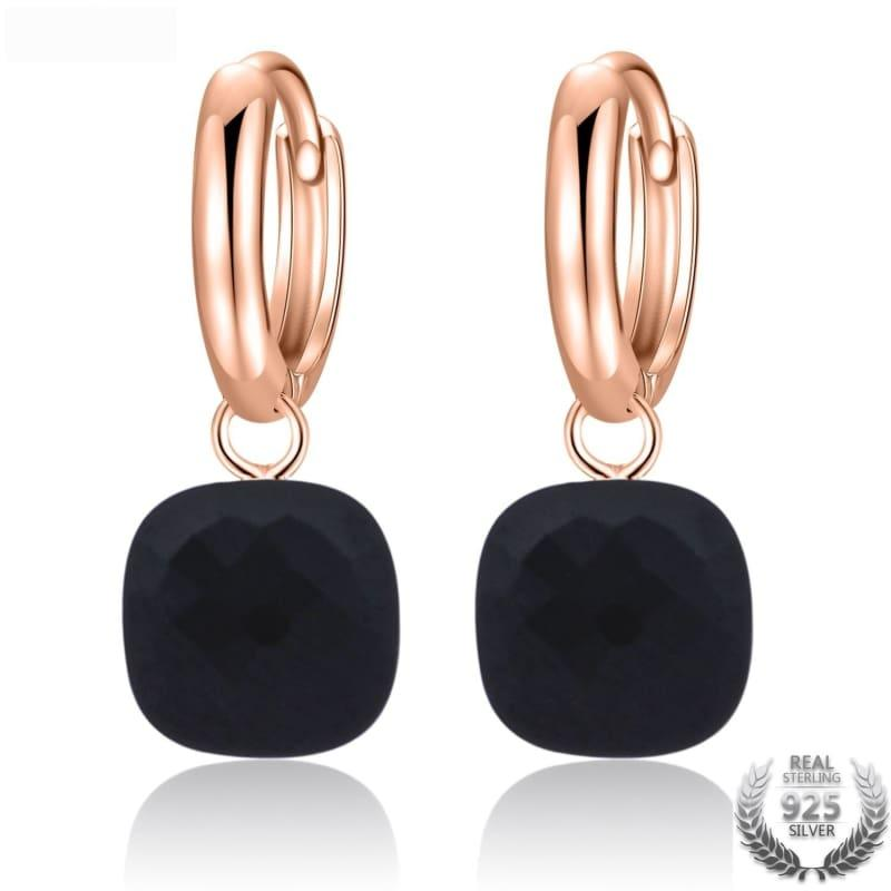 Natural Black Agate Elegant Earrings - Earrings