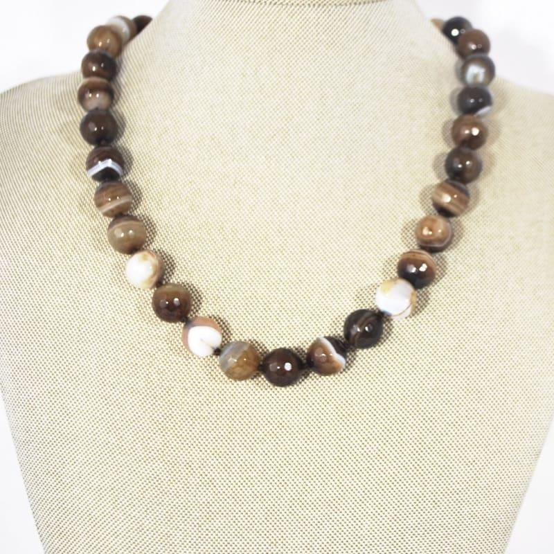 Natural Brown Onyx Stripe Agate Beaded Necklace - Handmade