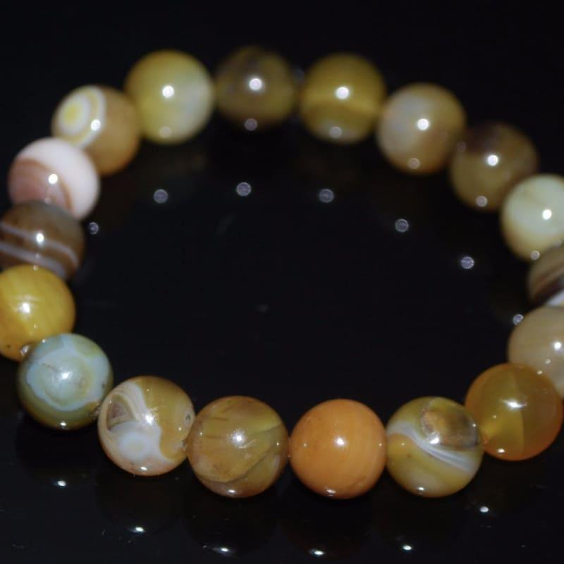 Natural Coffee Stripe Facet Agate Onyx Unisex Mens Bracelets - Handmade