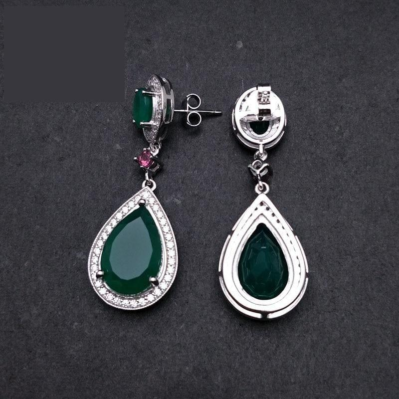 Natural Green Agate Water Drop 925 Sterling Silver Fine Jewelry Clasp Earrings - earrings