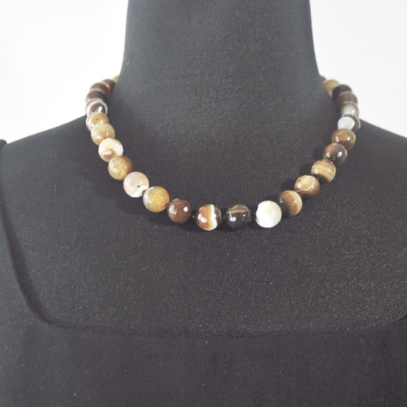 Natural Onyx Stripe Agate Beaded Necklace - Handmade