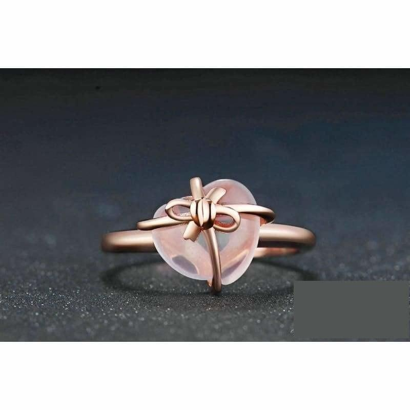 Natural Rose Quartz 925 Sterling Silver Gemstone Rings - Ring