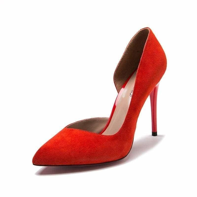 Natural Suede Basic Pumps - RED / 5 - Pumps