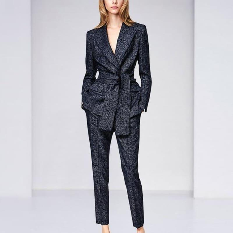 Navy Blue Blazer Pants Suit Set - Navy Blue / S - Set