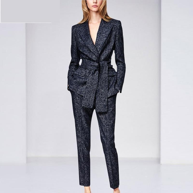 Navy Blue Blazer Pants Suit Set - Set
