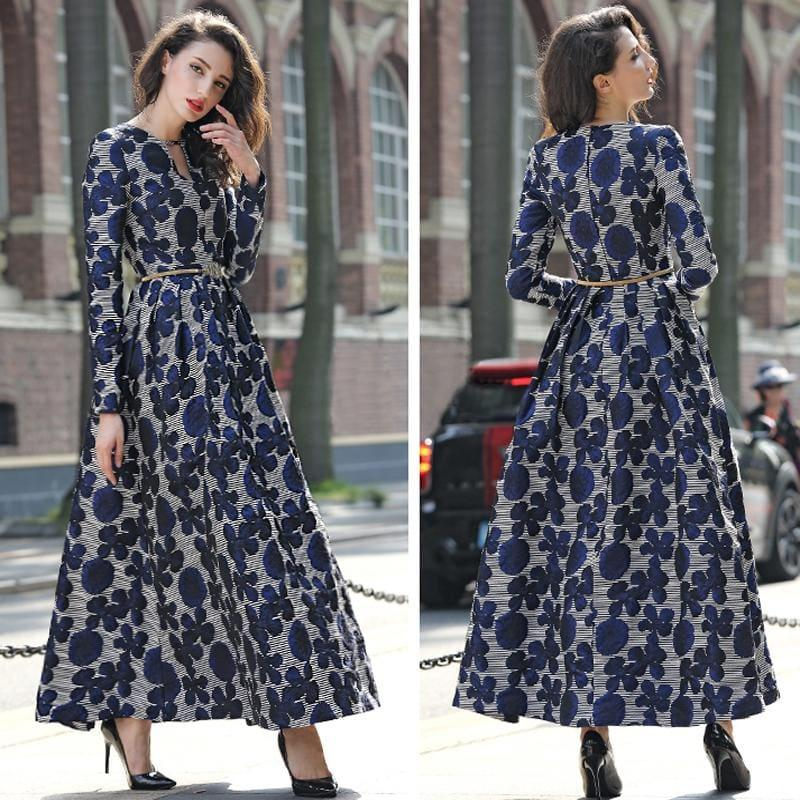 Navy Blue Floral Jacquard Long Sleeve Vintage Formal Maxi Dress - gown