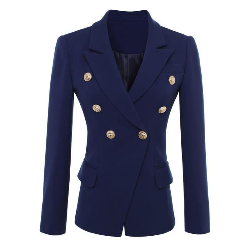 Navy Blue Gold Buttons Double Breasted Women Blazers - Jackets