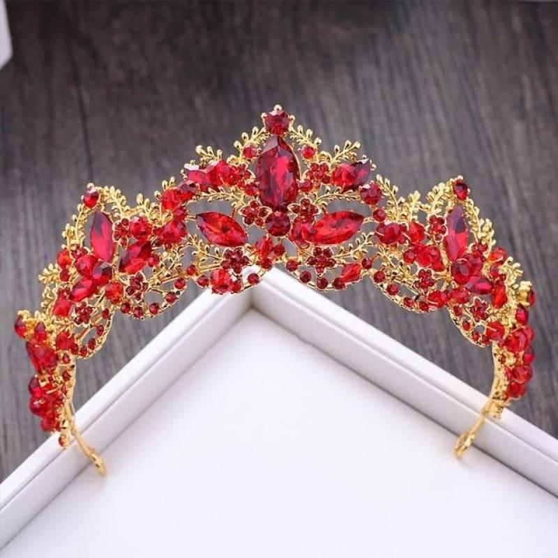 New Fashion Baroque Luxury Red Crystal Bridal Crown Tiaras Vintage Bride Wedding Hair Accessories - Red - hair clips