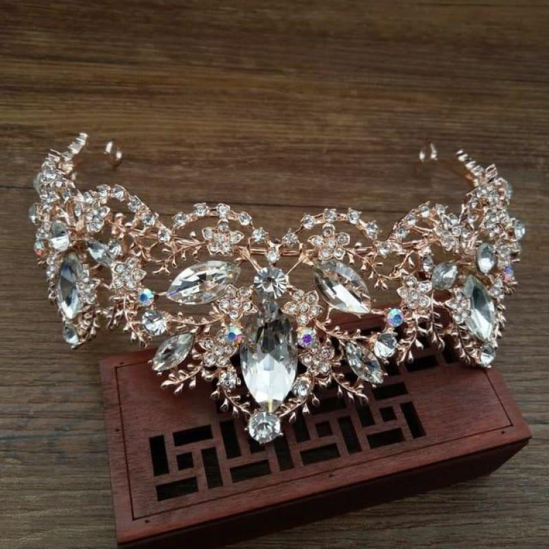 New Fashion Baroque Luxury Red Crystal Bridal Crown Tiaras Vintage Bride Wedding Hair Accessories - Crystal - hair clips