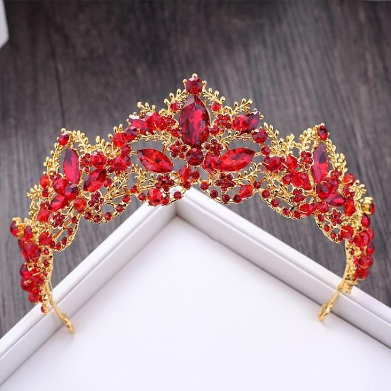 New Fashion Baroque Luxury Red Crystal Bridal Crown Tiaras Vintage Bride Wedding Hair Accessories - hair clips