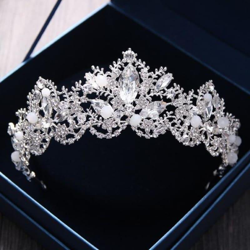 New Fashion Baroque Luxury Red Crystal Bridal Crown Tiaras Vintage Bride Wedding Hair Accessories - Silver - hair clips