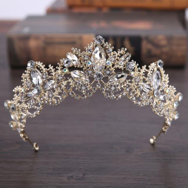 New Fashion Baroque Luxury Red Crystal Bridal Crown Tiaras Vintage Bride Wedding Hair Accessories - Yellow - hair clips