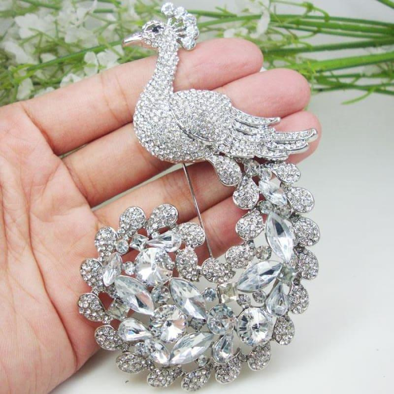 New Luxurious Bride Peacock Bird Brooch Pin Clear Austria Crystal Silver Tone - brooch