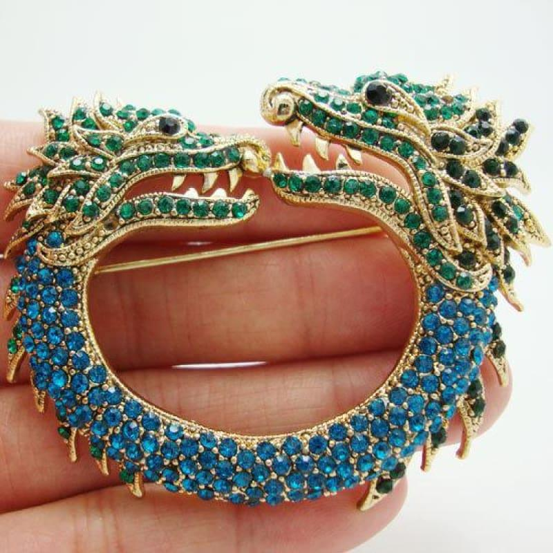New Vintage Style Double Faucet Animal Brooch Pin Blue Rhinestone Crystal - Default title - Brooch