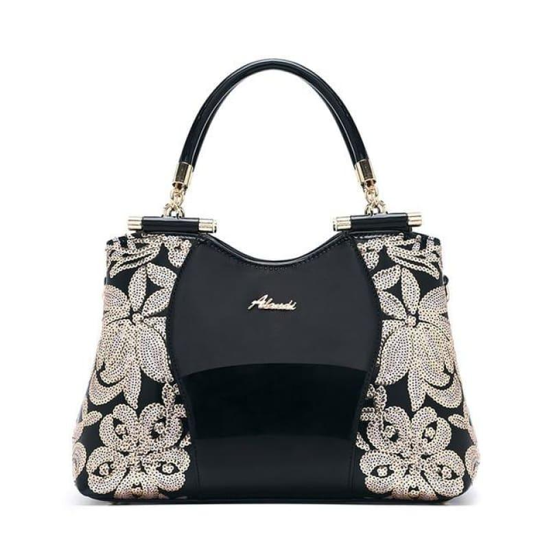 New Women Patent Leather Handbags Sequin Embroidery Luxury Shoulder Crossbody Bag - Black - Handbag
