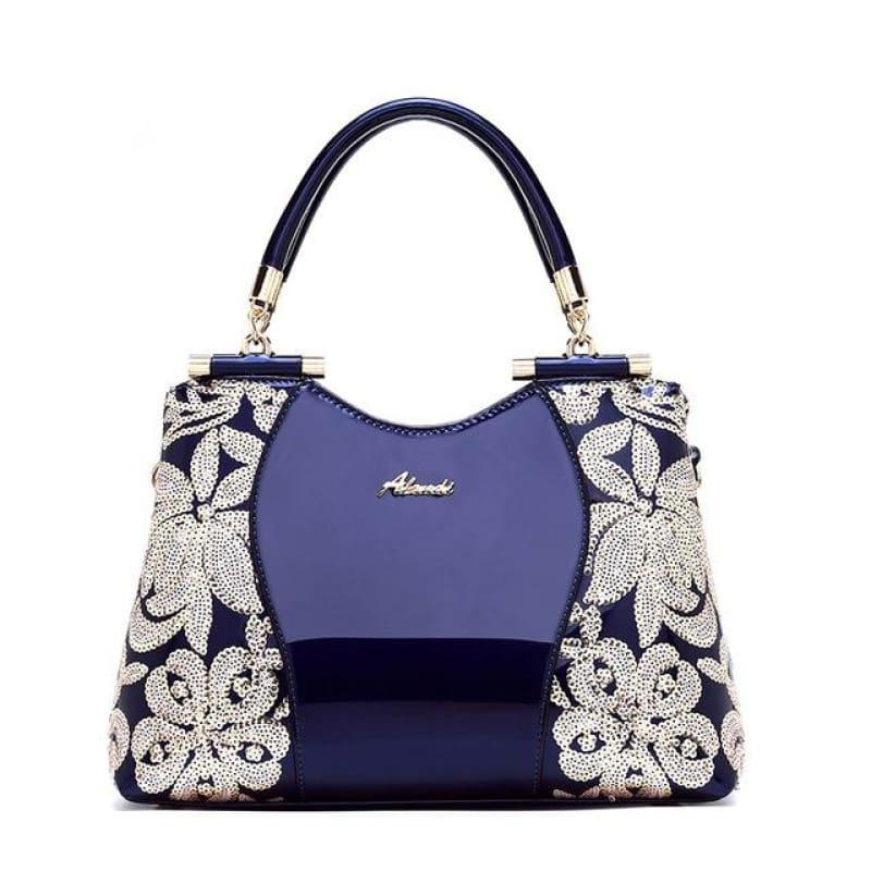 New Women Patent Leather Handbags Sequin Embroidery Luxury Shoulder Crossbody Bag - Blue - Handbag