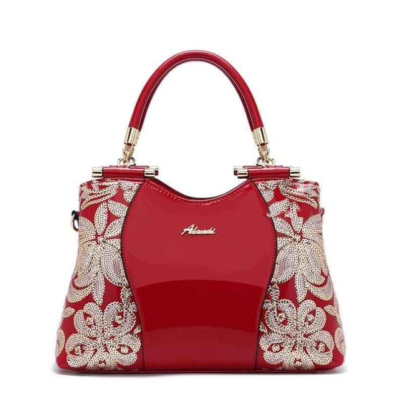 New Women Patent Leather Handbags Sequin Embroidery Luxury Shoulder Crossbody Bag - Red - Handbag