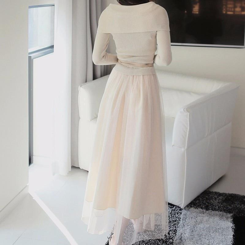 Off Shoulder Sexy Mesh Knitted Tulle Party Long Sleeve Midi Dress - Midi
