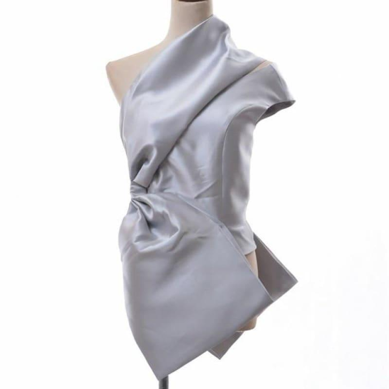 Off Shoulder Sexy Sleeveless Irregular Blouse - Silver / L - Sleeveless