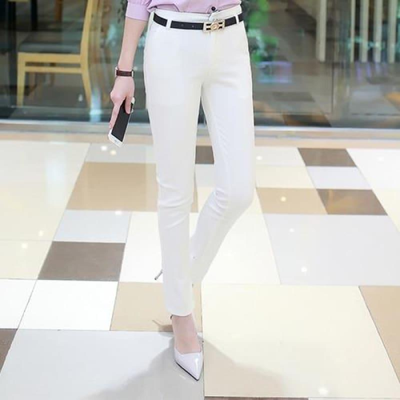 Office Fashion Pencil Trousers Pants - White / S - pants