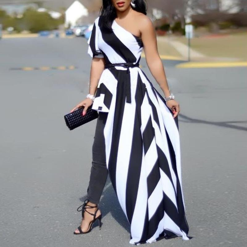 One Shoulder Contrast Striped Asymmetric Black and White Blouse - Black and White / L - Short Sleeve