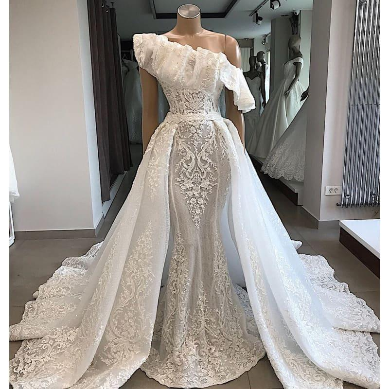 Black Wedding Dress With Detachable Train: One Shoulder Lace Wedding Dress With