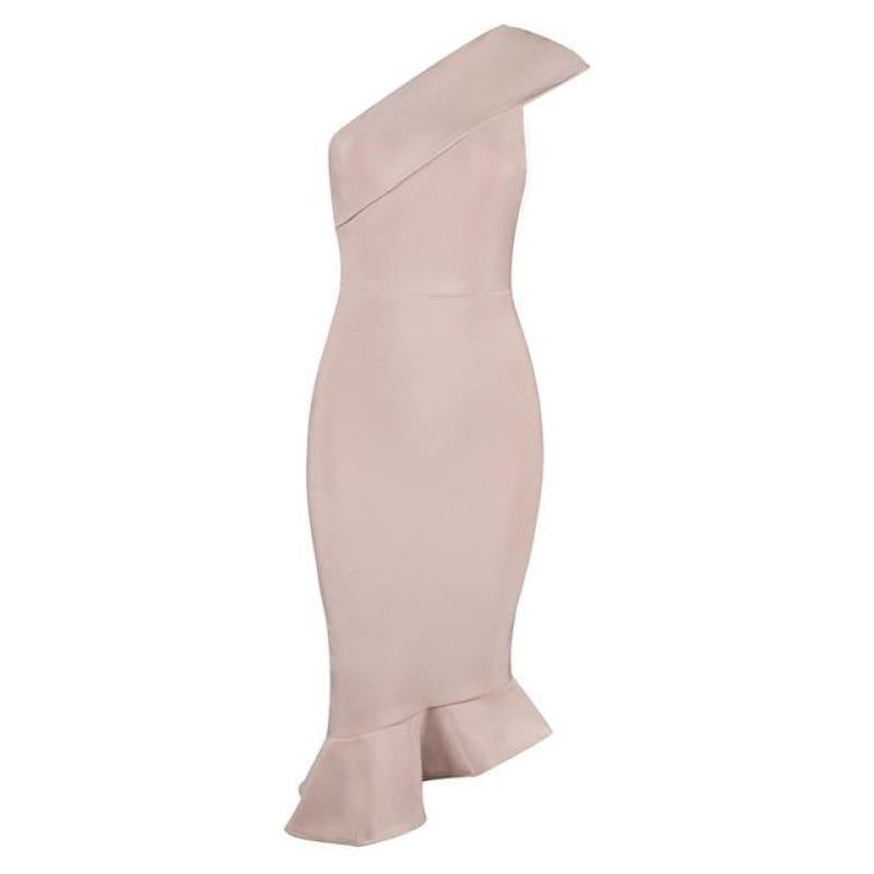 One Shoulder Sleeveless Ruffles Nightclub Dress Cocktail Evening Party Mid Length Dress - Apricot / L - Mid Length