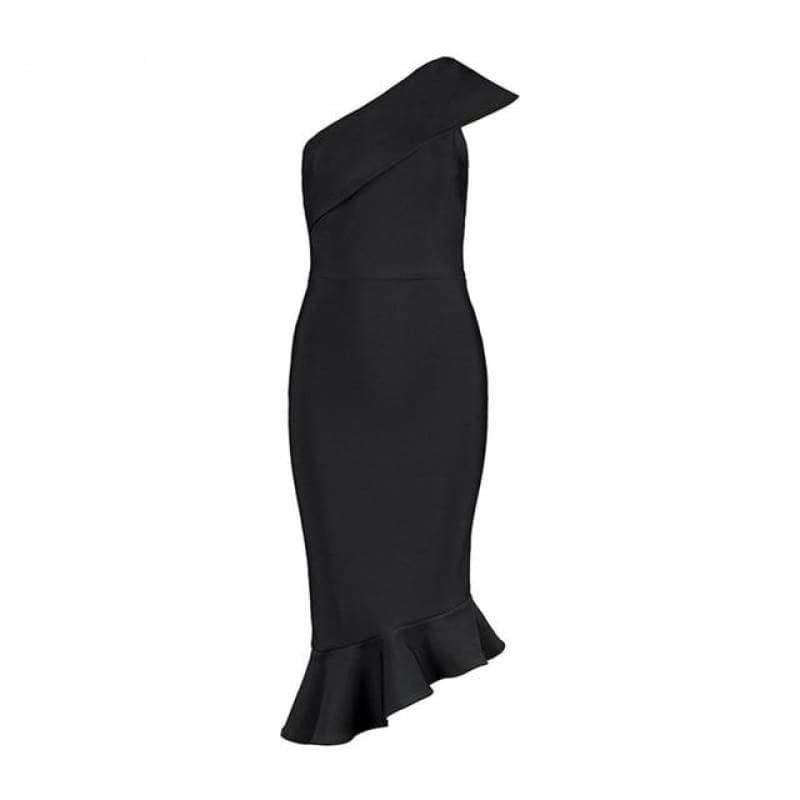 One Shoulder Sleeveless Ruffles Nightclub Dress Cocktail Evening Party Mid Length Dress - Black / L - Mid Length