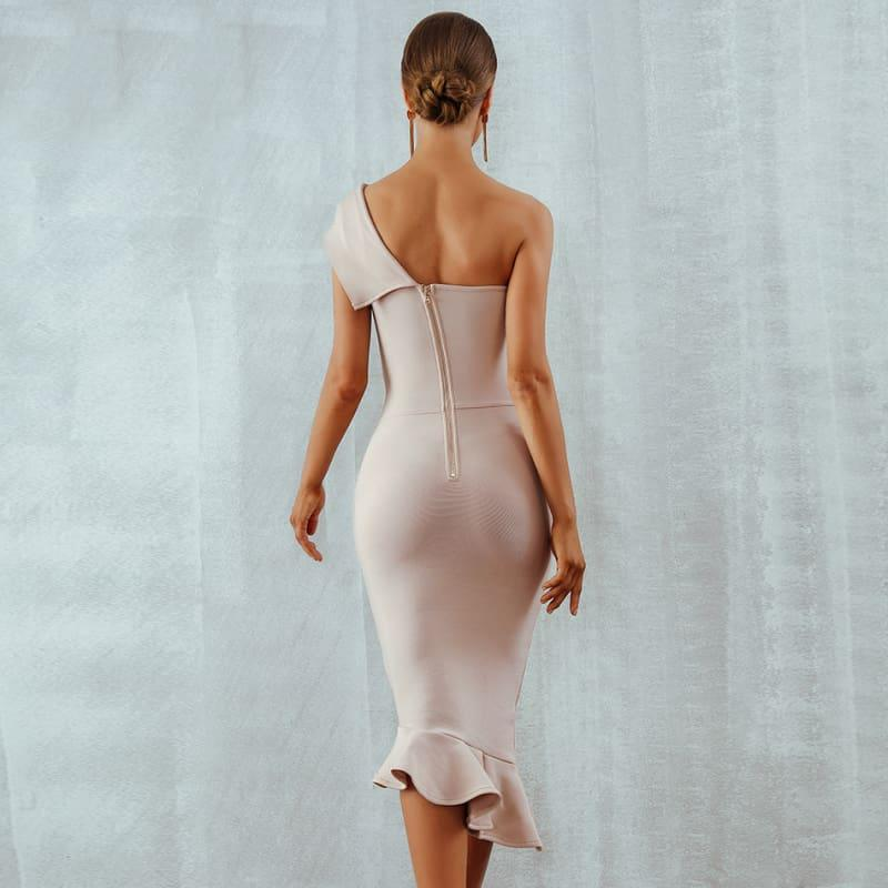 One Shoulder Sleeveless Ruffles Nightclub Dress Cocktail Evening Party Mid Length Dress - Mid Length