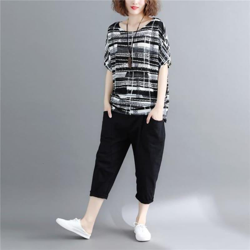 One Size Batwing Sleeve Summer Black Striped - Black / One Size - Sleeveless