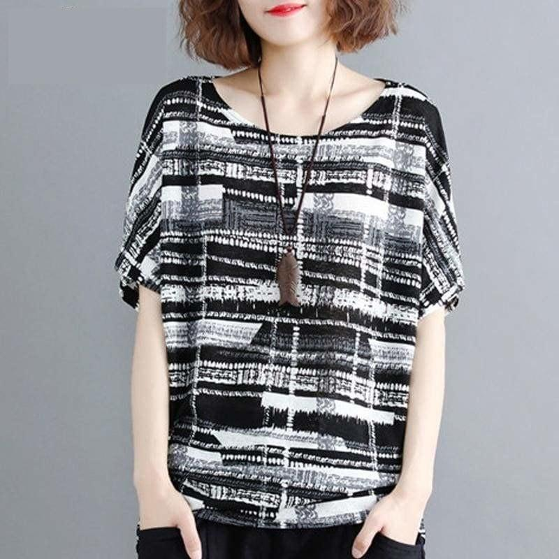 One Size Batwing Sleeve Summer Black Striped - Sleeveless