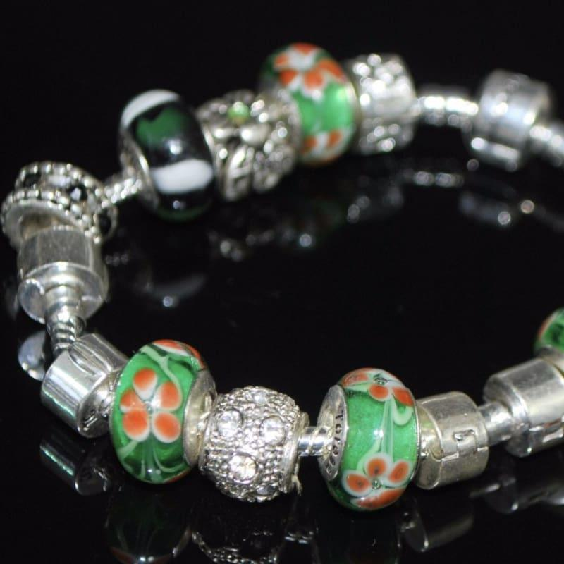 Orange Petals Murano Glass Bead Charm Bracelets - charms