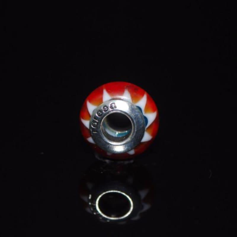Orange Swirl Murano Glass Charm bead - Charm beads