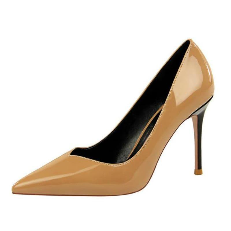 Patent Leather Pointed Toe Pumps Women Super High Heel Pumps - Beige / 3 - pumps