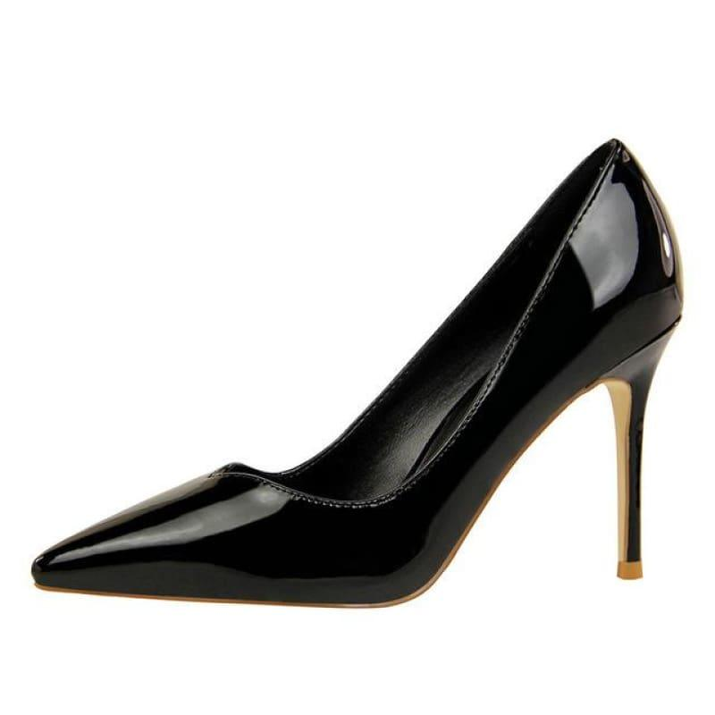 Patent Leather Pointed Toe Pumps Women Super High Heel Pumps - Black / 3 - pumps