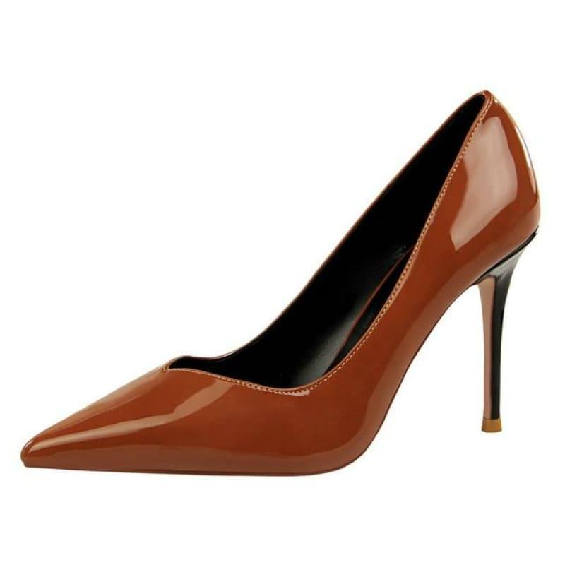 Patent Leather Pointed Toe Pumps Women Super High Heel Pumps - Brown / 3 - pumps