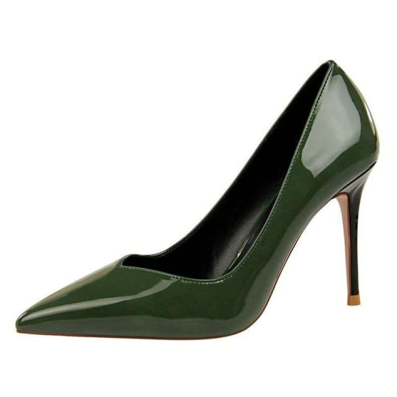 Patent Leather Pointed Toe Pumps Women Super High Heel Pumps - Green / 3 - pumps