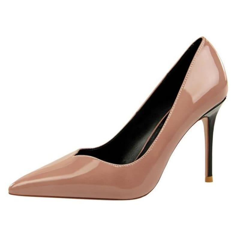 Patent Leather Pointed Toe Pumps Women Super High Heel Pumps - Pink / 3 - pumps