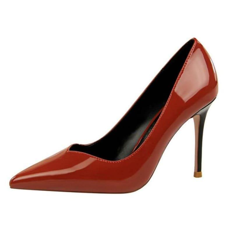 Patent Leather Pointed Toe Pumps Women Super High Heel Pumps - Red / 3 - pumps