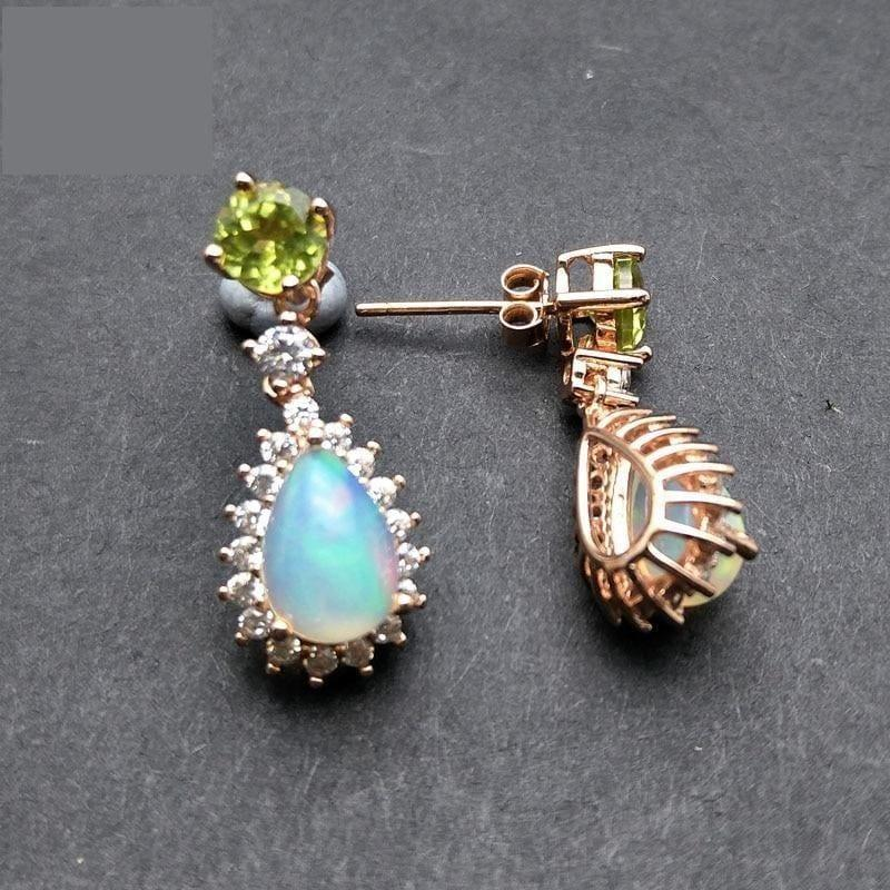 Peridot and Ethiopian Opal in 925 Sterling Silver Natural Gemstone Fashion Earrings - earrings