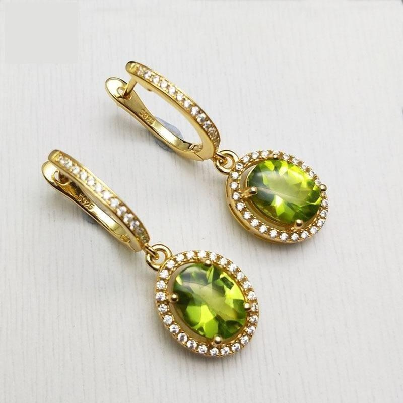 Peridot Oval 7*9mm Gemstone 925 Sterling Silver Clasp Earrings - Earrings