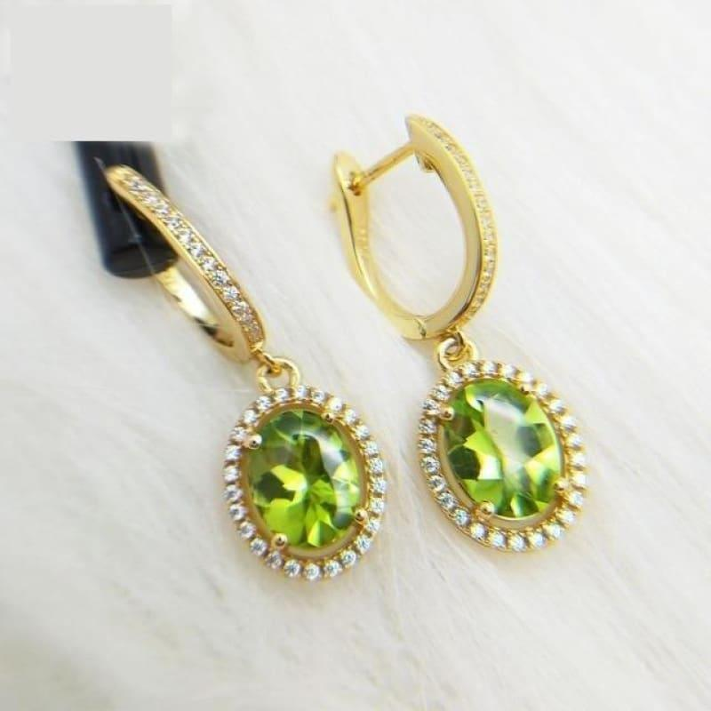Peridot Oval 7*9mm Gemstone 925 Sterling Silver Clasp Earrings - Peridot - Earrings