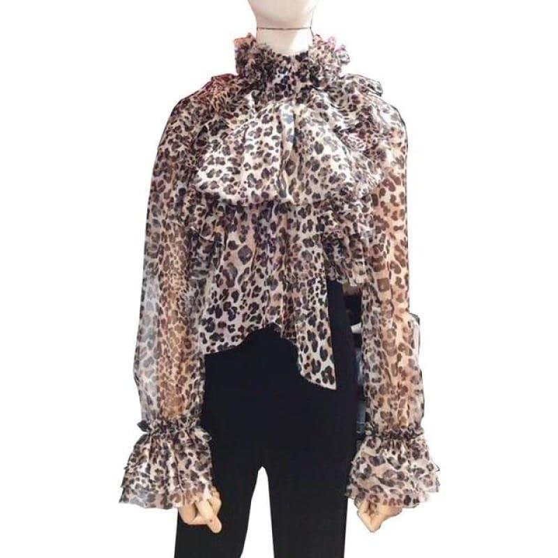 Perspective Bowknot Flare Long Sleeve Ruffle Shirt - leopard / L - Long Sleeve
